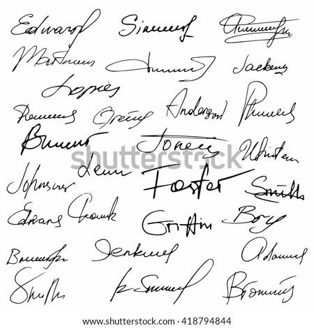 Signatures set fictitious contract signatures business autograph illustration raster  - stock photo