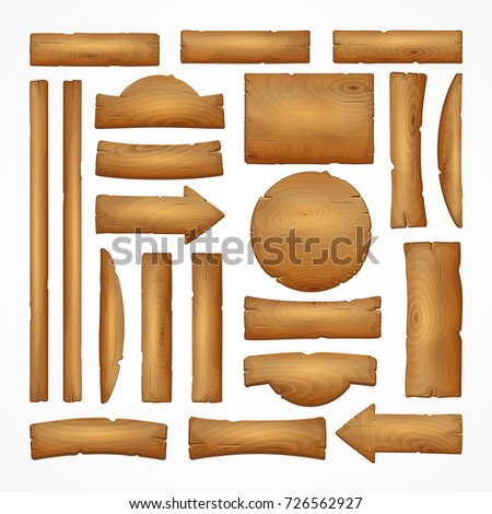 Signboard creation set. Build your own design. Wooden boards of different shapes and sizes. Cartoon flat-style illustration.