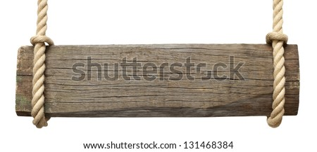 Signboard on the rope isolated on white background