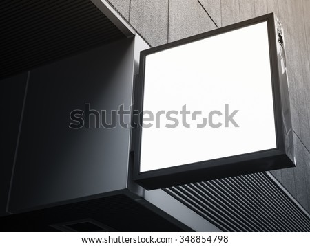 Signboard shop Mock up square shape display perspective - stock photo