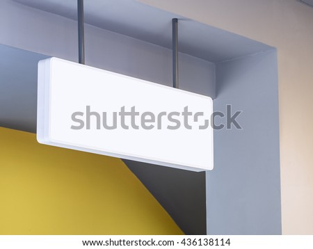 Signboard shop White Mock up square shape display perspective - stock photo