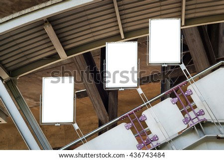 Signboard white space on the overpass or the bridge or walkway. - stock photo