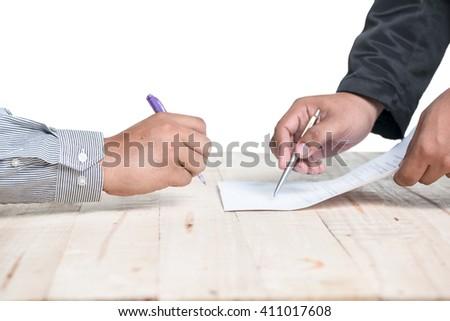 Signed white background - stock photo