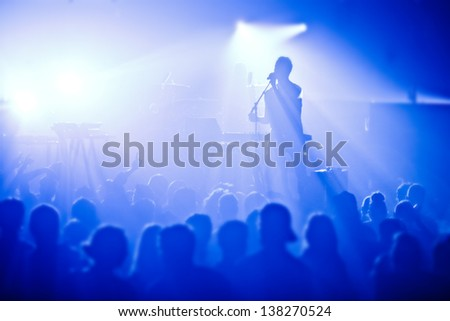 Signer in silhouette in front of a big crowd - stock photo