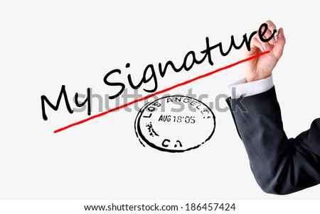 Signing a contract concept - stock photo