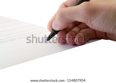 signing of a contract on an isolated background