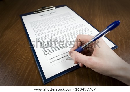 Signing the document