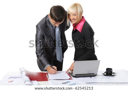 Signing the document partners. Isolated on white background - stock photo