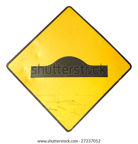 Signo of speed hump or ramp isolated over white - stock photo