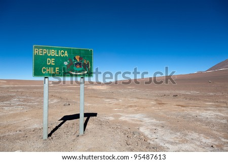 Signpost at borderline between Chile and Bolivia