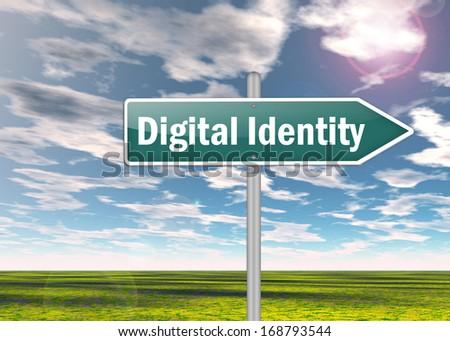 Signpost Digital Identity wording - stock photo