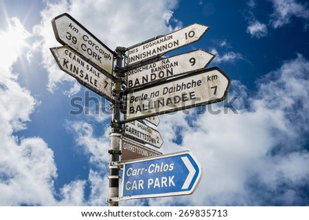 Signpost for places in cork Ireland against cloudy blue sky