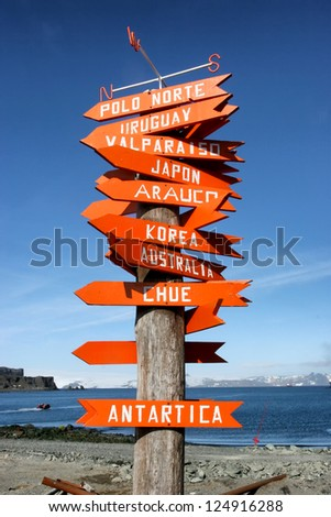 signpost in Antarctica with directions to other countries - stock photo