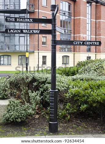 Signpost in Belfast, Northern Ireland - stock photo