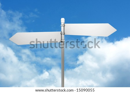 Signpost in blue sky with fluffy white clouds