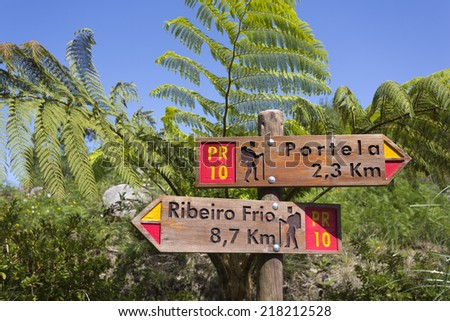 Signpost in Madeira's (Portugal) bush - stock photo
