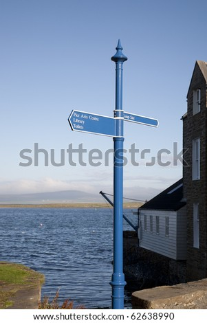 Signpost in Stromness, Orkney Islands, Scotland
