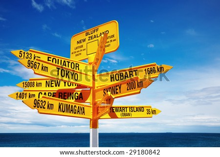 Signpost in the Stirling Point, Bluff, New Zealand.  Most southern mainland point of New Zealand - stock photo