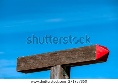 signpost is showing the correct direction for succsess - stock photo