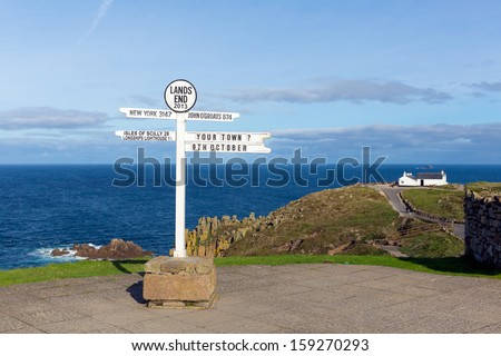 Signpost Land`s End Cornwall UK the most westerly point of England on the Penwith peninsula eight miles from Penzance on the Cornish coast