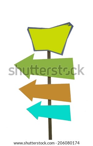 Signpost (pointer) with three arrows pointing in one direction. - stock photo
