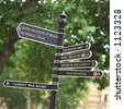 Signpost pointing out various directions of streets in London, England - stock photo