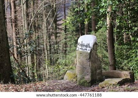 Signpost pointing to Bad Herrenalb, Baden-Wurttemberg, Germany.