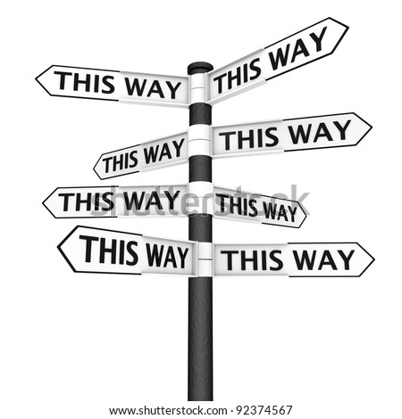 Signpost sending you to every direction - stock photo