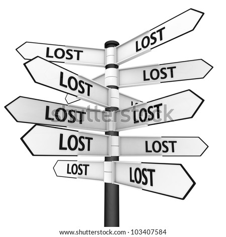 Signpost sending you to every direction, concept of feeling lost - stock photo
