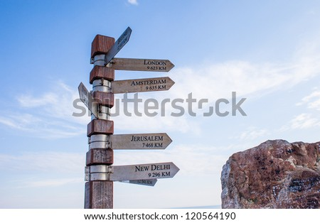 Signpost showing directions to cities, Cape Point - stock photo
