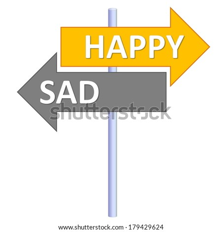 Signpost showing two different directions between happy and sad in white background - stock photo