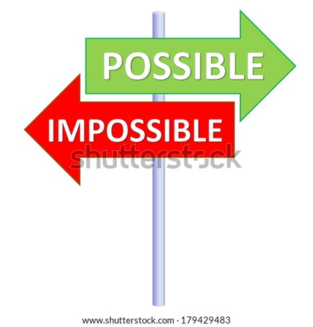 Signpost showing two different directions between possible and impossible in white background