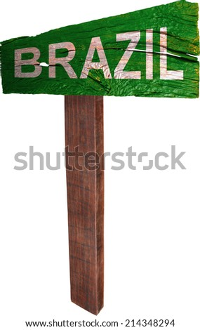 Signpost timber from Brazil - stock photo