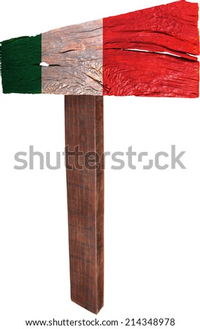 Signpost timber from Italy - stock photo