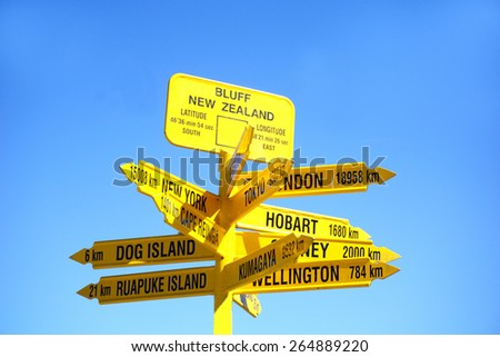 Signpost to the world, popular tourist destination, the sign points to major tourist locales around world from Stirling Point , Bluff. - stock photo