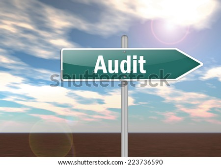 Signpost with Audit wording - stock photo