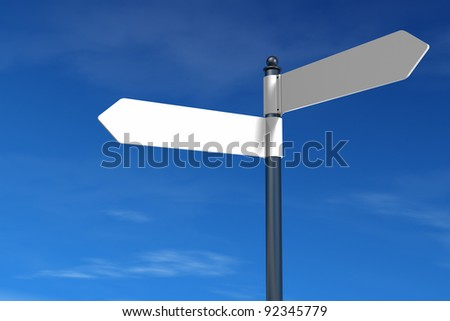 signpost with multiple empty arrows with blue sky