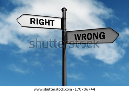Signpost with right and wrong direction choices - stock photo