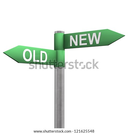 "Signpost with two directions with the text ""old"" and ""new""."
