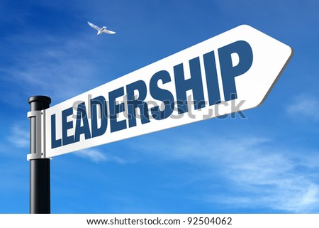 signpost with word leadership and blue sky