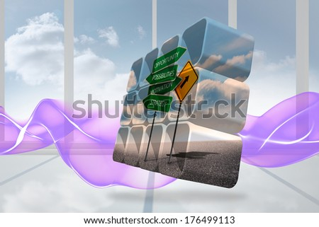 Signposts on abstract screen against abstract pattern in purple