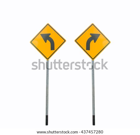 Signs align the front left and right curves on white background. - stock photo