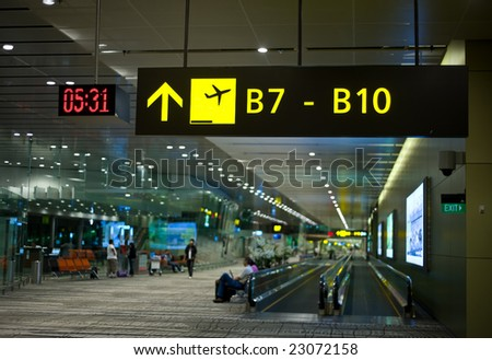 signs at the airport - stock photo