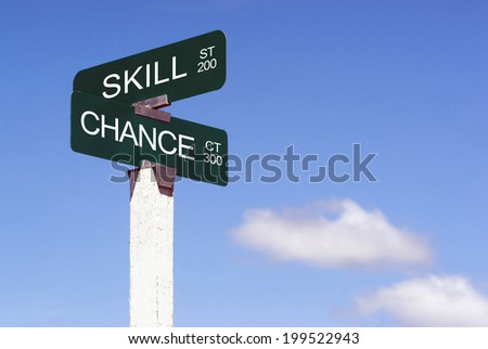 Signs Crossroads Skill Street Chance Avenue Sign Blue Skies Clouds