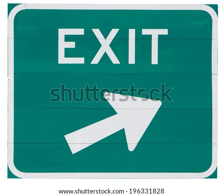 Signs: Exit Now Road Sign With Arrow - stock photo
