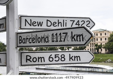 Signs for the way roma