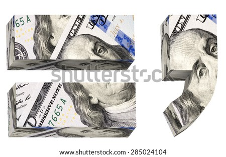 Signs from dollar bill alphabet set isolated over white. Computer generated 3D photo rendering. - stock photo