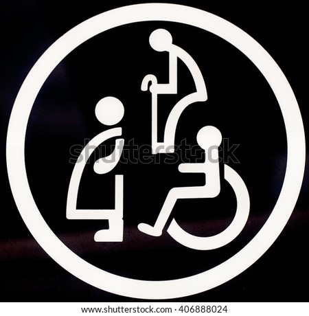 Signs of disabled toilets - stock photo