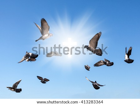 Signs of faith. Flying pigeons and a glowing holy cross on a blue sky background - stock photo