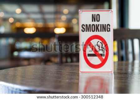 Signs of non smoking in restaurant . - stock photo